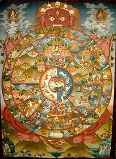 Tibetan Thangka Paintings & an Explanation of the Buddhist Wheel of Life* Arielle Gabriel writes about miracles and travel in The Goddess of Mercy & The Dept of Miracles also free China toys and paper dolls at The China Adventures of Arielle Gabriel * Tibetan Art, Tibetan Buddhism, Buddhist Art, Buddhist Wheel Of Life, Vajrayana Buddhism, Thangka Painting, Arte Tribal, Religious Art, Ganesha
