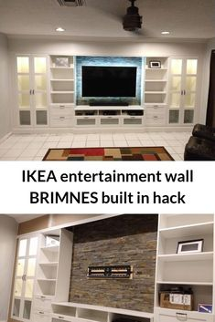 How to DIY an affordable IKEA entertainment wall. IKEA BRIMNES built-in entertainment center and storage. Source by ikeahacker home home ikea Built In Tv Wall Unit, Built In Shelves Living Room, Tv Built In, Living Room Wall Units, Tv Wall Units, Ikea Living Room Storage, Wall Cabinets Living Room, Built In Tv Cabinet, Tv Wall Cabinets