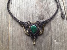 Macrame necklace elven tiara Malachite boho chic jewelry micro macrame micro-macrame tribal hippie