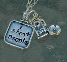 Hand Stamped Sterling Camera Charm Necklace I Shoot by IJDbyNoelle, $35.00