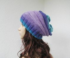 knitted slouchy rainbow striped hat teens womens soft