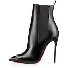 CHRISTIAN LOUBOUTIN Banjo 120Mm Black Leather ($1,195) ❤ liked on Polyvore featuring shoes, boots, black pointy toe boots, black high heel shoes, cold weather boots, black spiked boots and black leather shoes