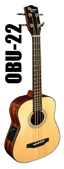 Ohana Ukuleles OBU-22 Compact Acoustic Electric Bass Guitar w/Bag