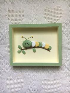 Caterpillar Decor Caterpillar Art Framed Pebble Art Nursery Wall Hanging Baby Shower Gift Kid S Room Wall Art Painted Stones - Painting new york Pebble Painting, Pebble Art, Stone Painting, Pebble Beach, Stone Crafts, Rock Crafts, Resin Crafts, Felt Crafts, Button Art