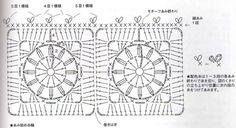 Crochet granny square chart pattern