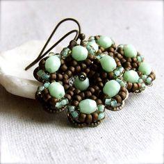 Mint Green Glass Brass Flower  Beadwoven Earrings by balanced, $32.00