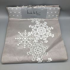 Nicole Miller Winter Table Runner Embroidered Snowflake Holiday Shimmer Silver  #NicoleMiller