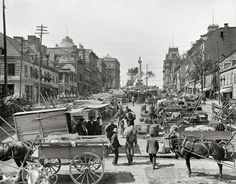 """Quebec circa 1900. """"Jacques Cartier Square, Montreal."""" One of relatively few Canadian scenes"""