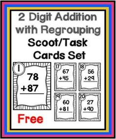 Here is a set of two-digit with regrouping scoop/task cards.   Your download will include:  -30 task cards that you can print on colored card stock and laminate -a student answer sheet -a teacher answer sheet                                           -directions for use  These cards are perfect for center work and for playing Scoot.
