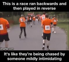"ladynorbert: "" "" a video of people running backwards put in reverse is like they're being chased by someone mildly intimidating "" I laughed way too hard at this. Funny Cute, The Funny, Hilarious, All Meme, People Running, Laughing So Hard, Looks Cool, Just For Laughs, Make You Smile"