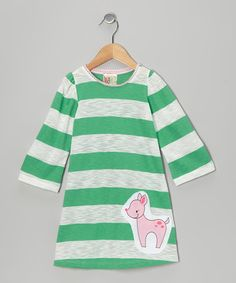 Save Now on this Green Stripe Deer Dress - Toddler & Girls by Twirls & Twigs on #zulily today!