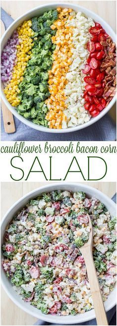 Cauliflower Broccoli Bacon Tomato Corn Salad Recipe. This would be good with the 7 layer dressing & more bacon. 4 slices?! That's it?? HA! (Christmas Recipes Salad)