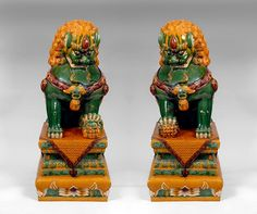 A majestic pair of Qing Dynasty Guardian Temple Buddhistic Lions Dogs with triple Sancai glaze.  This pair is an outstanding example of the triple 🉐🈯️🈳🈚️ CHINESE FU LIONS 石獅  / JAPANESE FOO LIONS 狛犬 / KOMAINU / RUI SHI /  SHISHI / SHI / BUDDHIST LION 佛獅🈳🈲🈯️🉐More Pins Like This At FOSTERGINGER @ Pinterest🈹🈚️🈲🉐