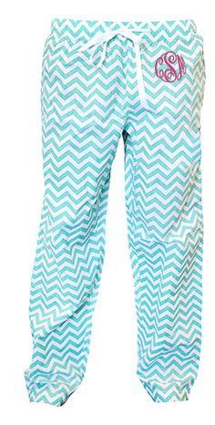 tinytulip.com - Monogrammed Chevron Teal Lounge Pants, $38.50 (http://www.tinytulip.com/monogrammed-chevron-teal-lounge-pants/)