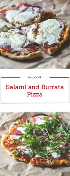 Thin & crispy pizza kept simple with tomato sauce, salami and burrata cheese, then topped with fresh arugula and red onion tossed in a balsamic vinegar dressing.