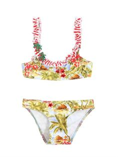 SELINI ACTION - PALMS PRINT STRETCH NYLON BRASSIERE - LUISAVIAROMA - LUXURY SHOPPING WORLDWIDE SHIPPING - FLORENCE