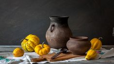 composition, Jugs, board, pumpkin - For desktop wallpapers: Best Android, Royalty Free Images, Composition, Pumpkin, Painting, Desktop Wallpapers, Board, Pictures, Life