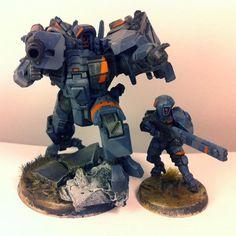 Battlesuit, Conversion, Dry Brushing, Tau, Tau Empire, Warhammer 40,000