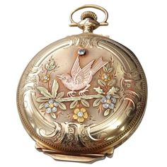 - ELGIN Hunter Case Multi Gold Pocket Watch explore items from Vintage Gold Watch, Vintage Diamond, Gold Pocket Watch, Pocket Watch Antique, Antique Watches, Vintage Watches, Antique Clocks, Antique Plates, Antique Jewelry
