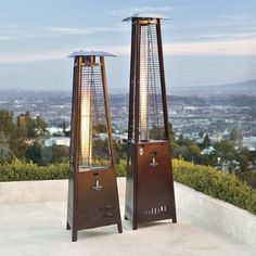 Instantly add toasty comfort and stylish ambiance to your outdoor setting with our Capri Patio Heater. A cool to the touch steel grid encloses the pyramid    flame tower, keeping you a safe distance from the glass heat source, while its multiple settings allow you to bask in its golden glow even on warmer    nights.            360 degrees of superior infrared heat distribution                42,000 BTU                Steel base provides extra stability                Optional steel caster...