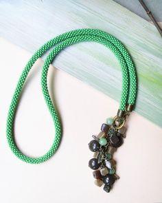 Bohemian bead crochet necklace rope lariat with por MartaJewelry