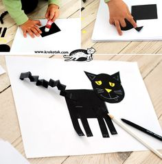 Easy cat collage from geometric shapes Animal Crafts For Kids, Diy For Kids, Cat Crafts, Crafts To Do, Halloween Projects, Halloween Kids, Black Cat Day, Black Kitty, Cat Party