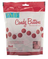Rood - De kleur van de liefde. Het smeltsnoep van PME kan je gebruiken voor cakepops, lollipops en taartdecoraties. Smelt de buttons au bain-marie of in de magnetron.