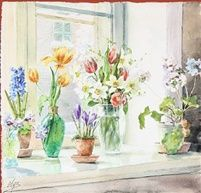 spring flowers in a window sill by olga grand duchess alexandrovna