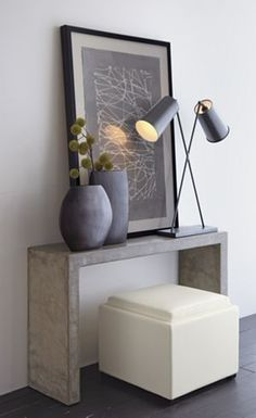 Mason Console Table (Crate & Barrel)... like composition, but not wide enough to be practical