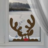Peeping Reindeer Window Sticker