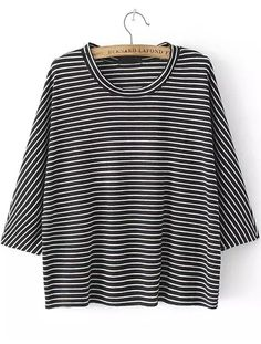 Black Long Sleeve Striped Loose T-Shirt One Size £8