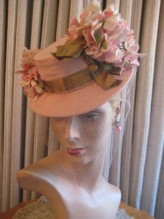 Vintage Brown printed 1950/'s Suisse Hat Fabric Millinery Fascinators hats Craft