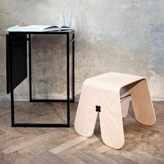 Bunny Stool - Natural Wood by UAU Project For BRAMBLA