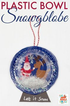 This plastic bowl snow globe is a simple kids craft and contains no water or glass so is great in a classroom environment too.  Make a festive snowglobe this christmas with this adorable childrens art activity or hang it on your tree as a christmas ornament