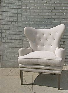 mid century wingback tufted ROMA chair from @bohemiennes @etsy $895 love the shape of this beautiful white wing back tufted side chair armchair