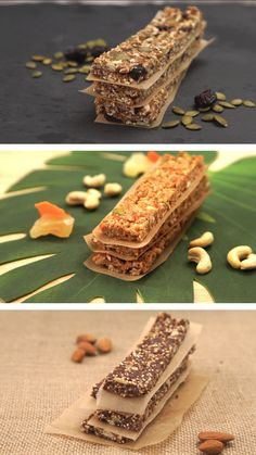 DIY Protein Bars 3 Ways Fuel your day with a variety of easy homemade protein bars with flavors like nut-free oat, tropical and quinoa! Fuel your day with a variety of easy homemade protein bars with flavors like nut-free oat, tropical and quinoa! Diy Protein Bars, Protein Bar Recipes, Healthy Bars, Protein Snacks, Healthy Sweets, Healthy Snacks, Snack Recipes, Healthy Drinks, Healthy Baking