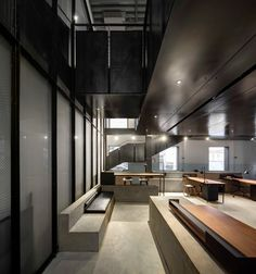 """Neri&Hu wanted to preserve as much of this original missile factory as possible, while creating a new interior that recaptures the """"allure and magic"""" once associated with with the car industry."""