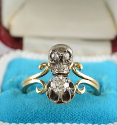 Victorian twin skull and diamond memento mori ring