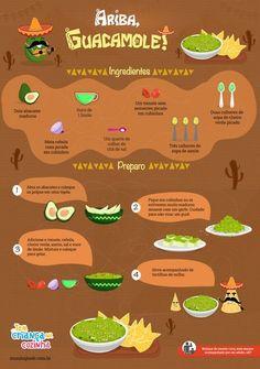 Guacamole diretamente do México Mexican Food Recipes, Vegetarian Recipes, Cooking Recipes, Comidas Fitness, Comida Latina, Food Illustrations, Going Vegan, Diy Food, Love Food