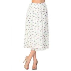 Sheer Ivory Scooter Printed Skirt -   -  Sophie May Clothing  - 1