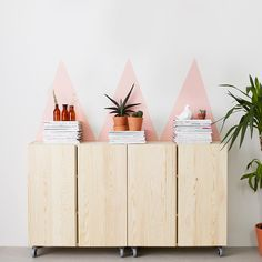 Geometric paint behind Ikea 'Ivar' cabinets on casters Interior Design Inspiration, Home Decor Inspiration, Diy Casa, Cute Diy Projects, Ideias Diy, Home And Deco, Ikea Furniture, Home Accessories, Living Room Decor