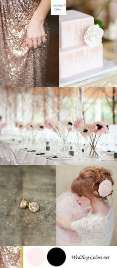 Glam Rose Gold, Blush, Black & Gold Wedding Palette