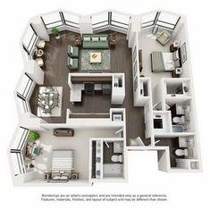 Suite A 2-Bedroom Apartment Floorplan Kitchen Layout Plans, House Layout Plans, House Layouts, Sims 4 Houses Layout, Sims House Plans, Small House Plans, House Floor Plans, Apartment Floor Plans, Bedroom Floor Plans