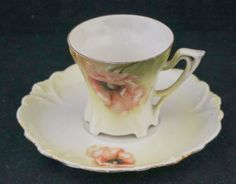 Antique-Art-Nouveau-RS-Germany-Chocolate-Cup-Saucer-Red-Poppy