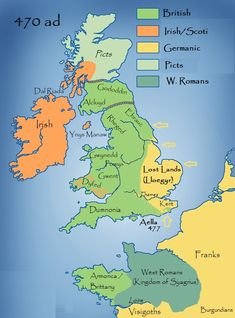 Map of 470 A. Briton, Scotia, and what is now Northern France. Map was meant to show locations from the Arthurian era, when Roman invasion was in full swing. Uk History, History Page, European History, History Museum, British History, European Men, Asian History, Tudor History, History Channel