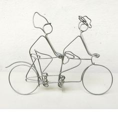 Tandem bicycle | 18 X 15 cm  www.artbending.ro  #bicycle #tandem #wireart #artbending #bicicleta #design #contemporary