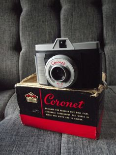 Coronet 4 x 4 Mark II Camera with Box & Case by JuniperHome on Etsy Movie Camera, Vintage Cameras, Box, Unique Jewelry, Handmade Gifts, Etsy, Cinema Camera, Kid Craft Gifts, Snare Drum
