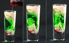 """Zombie Brain Hemorrhage""    Peach Schnapps, Creme de Menthe (Green, not clear!), Bailey's Irish Cream, Grenadine.  Pour the Peach Schnapps into a shot glass, about 1/2 full. Pour a splash of Creme de Menthe in next – it'll sink to the bottom.  Next, pour on the Bailey's. I like to do a clean layer, you may prefer to gently pour it in for more of a mixed ""brain"" effect."