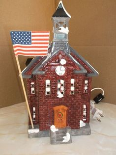 SNOW VILLAGE NEW SCHOOL HOUSE -1986- with bell and flag
