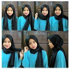Tutorial Hijab By Mayra Hijab: Tutorial Pake Jilbab yang Mudah dan Sederhana Tutorial Hijab Pesta, Turkish Hijab Tutorial, Tutorial Hijab Pashmina, Square Hijab Tutorial, Simple Hijab Tutorial, Hijab Style Tutorial, Modern Hijab Fashion, Hijab Fashion Inspiration, Muslim Fashion